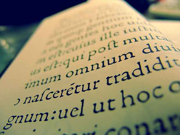 Depth of field in effect on a book's pages