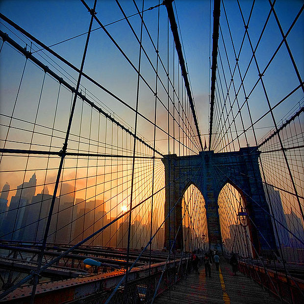 Brookyln Bridge, New York at sunset. Architecture ...
