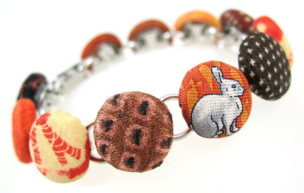 Fabric bracelet with bunny picture on it