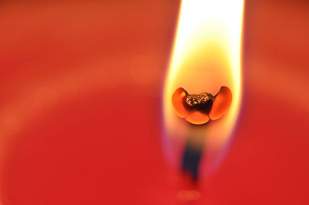 Close up of a candle wick and flame