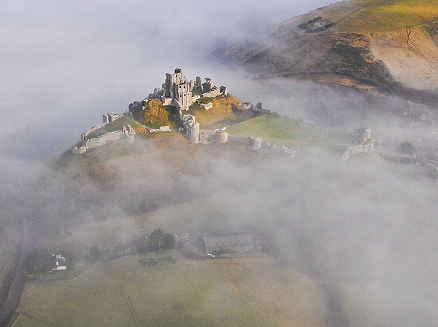 Castle surrounded by fog
