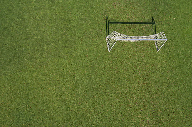 A goal on grass photographed from above