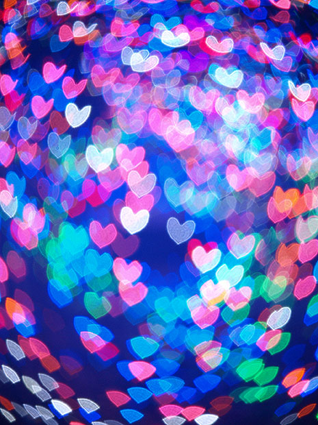 Blue and pink heart shaped bokeh
