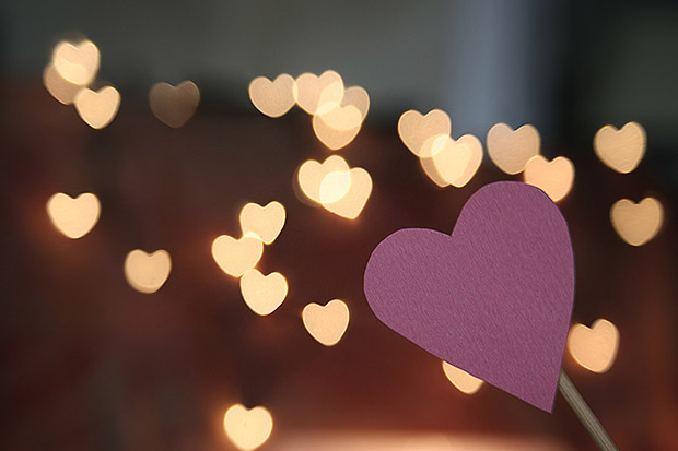 Paper Heart With Shaped Bokeh Background