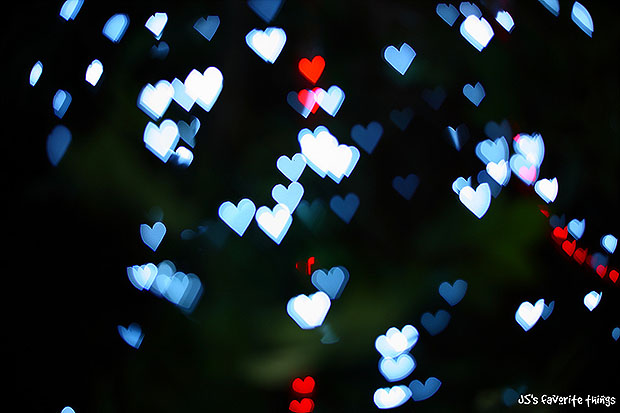 Blue and red heart bokeh