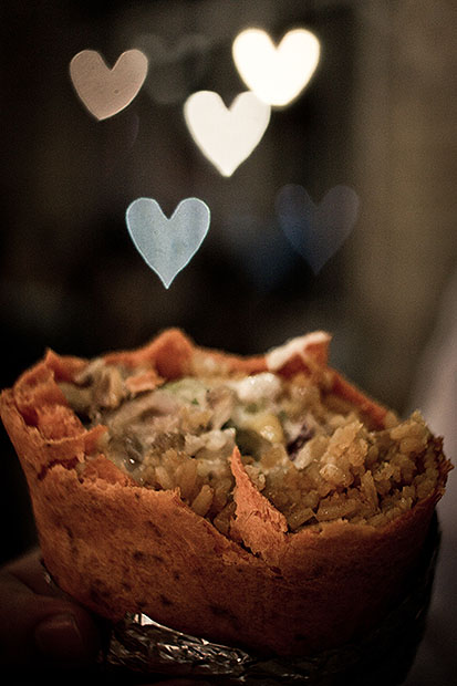 Food with heart bokeh