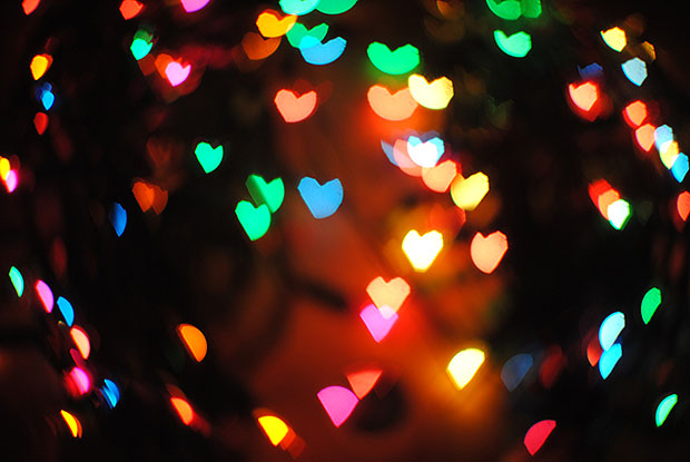 Brightly colour heart shape lights