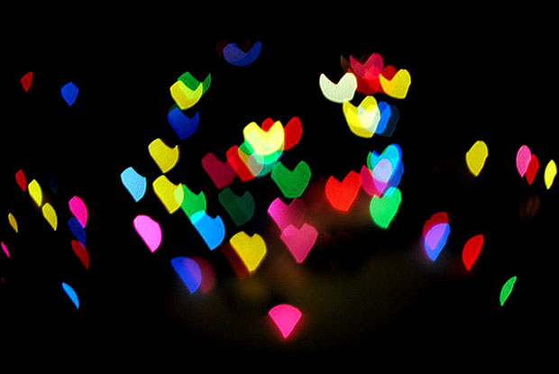 Multi colour heart bokeh shapes