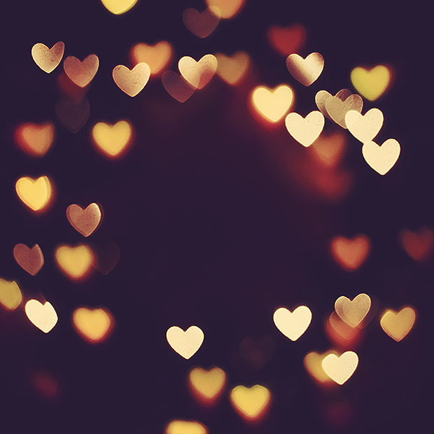 Warm coloured heart bokeh