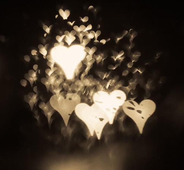 White blurry heart shapes