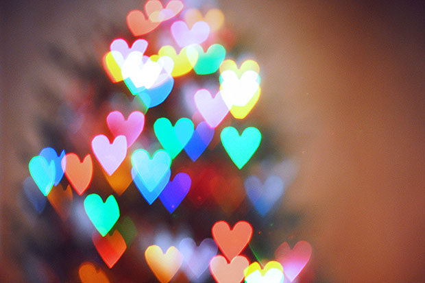 Blurry heart shape Christmas tree lights