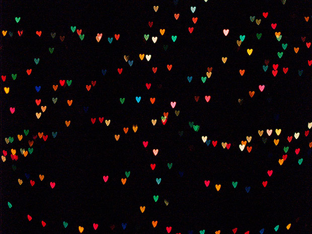 Lots of small, colourful heart shaped lights