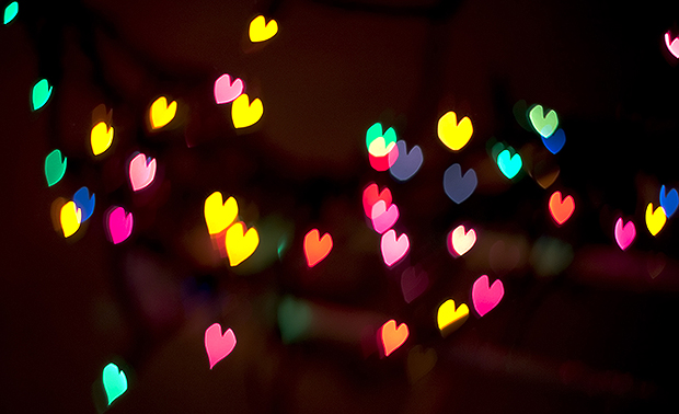Multi coloured heart shape lights