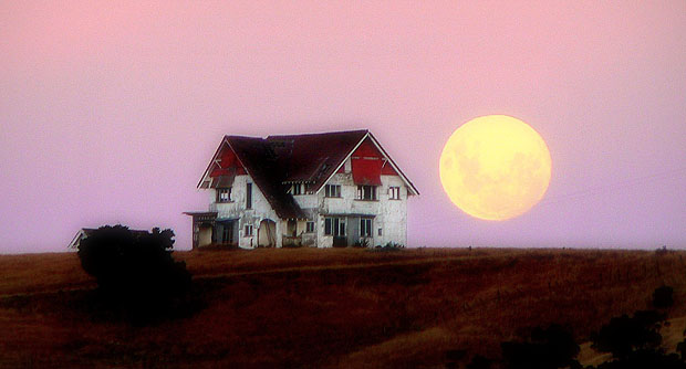 House in field in front of big moon