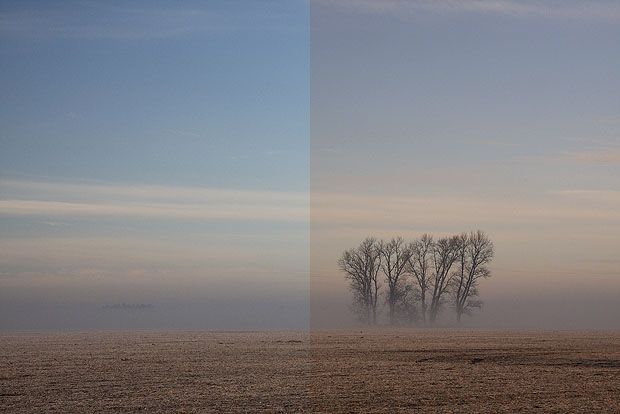 Landscape with and without warming filter