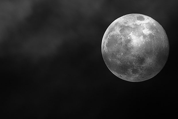 Moon photographed with a long lens