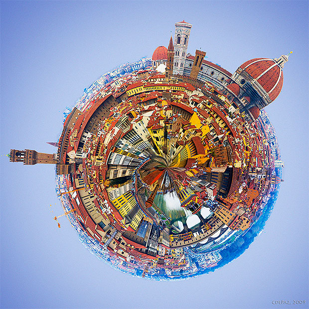 Stereographic projection of Florence