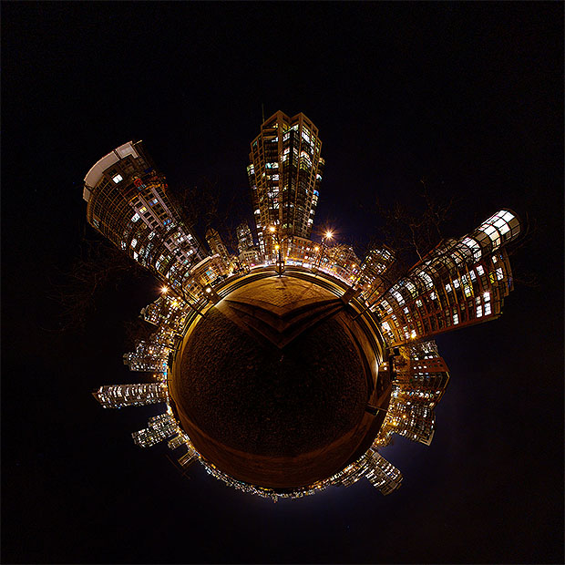 Stereographic projection of night time panorama