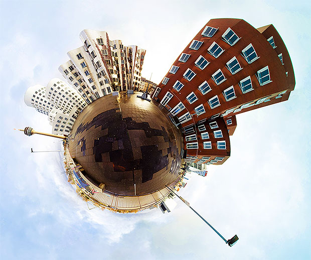 Stereographic projection showing city buildings