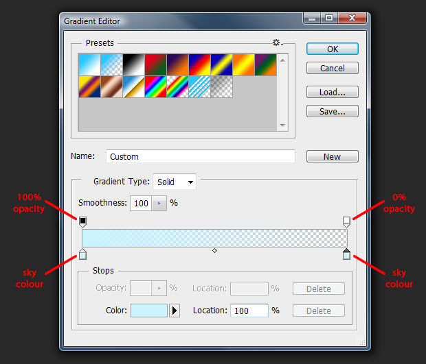 Photoshop's gradient tool controls