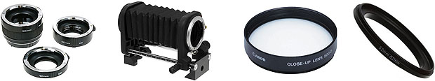 Extension tubes, bellows, close-up lenses