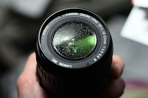 Moisture on a camera lens