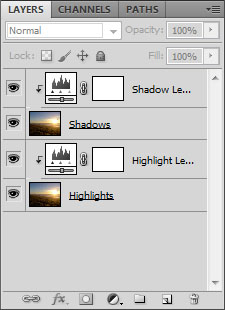 Clipping the adjustment layers to their image layers