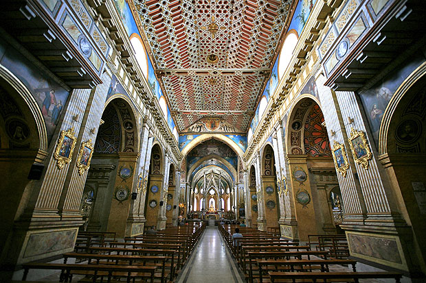Interior of cathedral in Quito, Ecuador