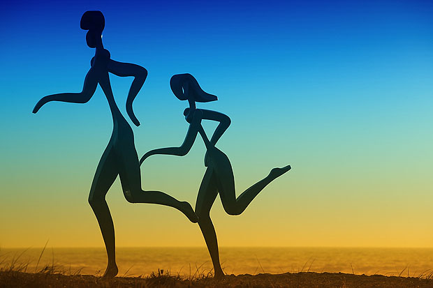 Sculpture of two runners