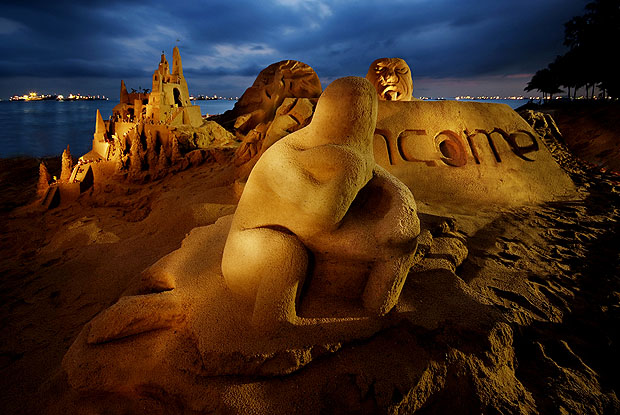 Sand sculpture at night