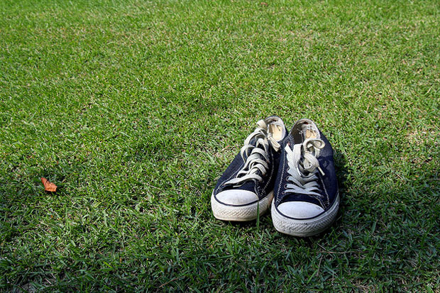 Pair of shoes on grass