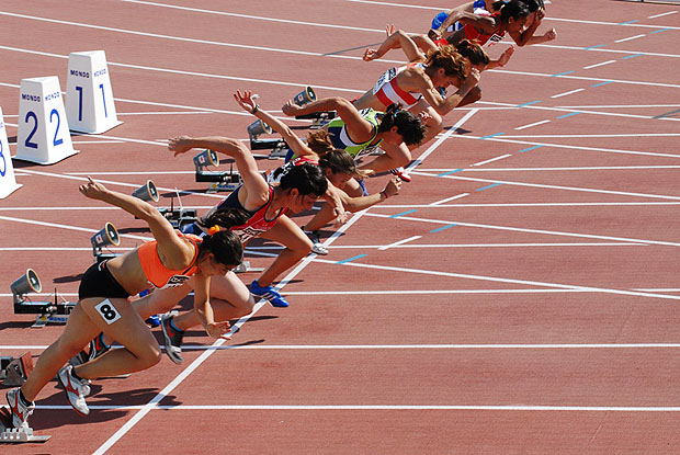 Sprinters starting a race