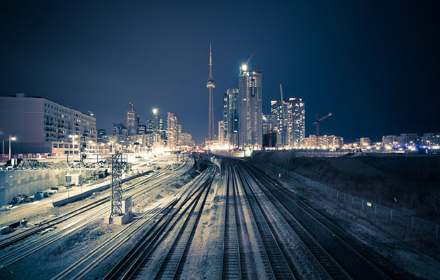 A railway track leading to Toronto city