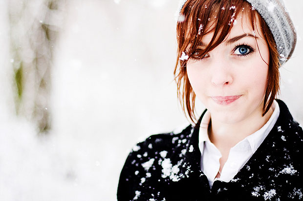 Woman in bright white snow